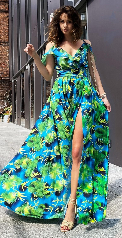 Suknia długa motyw kwiatowy...